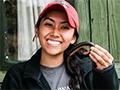 Nicole Tu-Maung with millipede